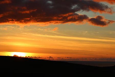 posta de sol, cel, cel vermell, núvols vermells, foc del cel, Costa, oceà