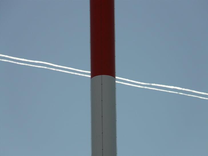 라디오 타워, 라디오 돛대, greened, 송신 탑, contrail, 비행, 여행