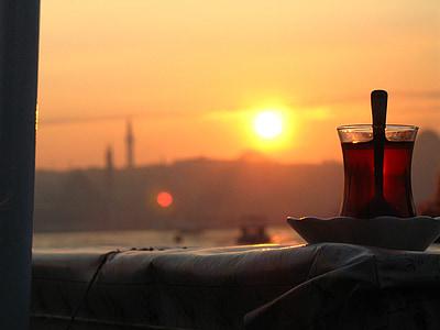 茶, 博斯普鲁斯海峡, 土耳其, 伊斯坦堡, 太阳, 日落, sillhouette