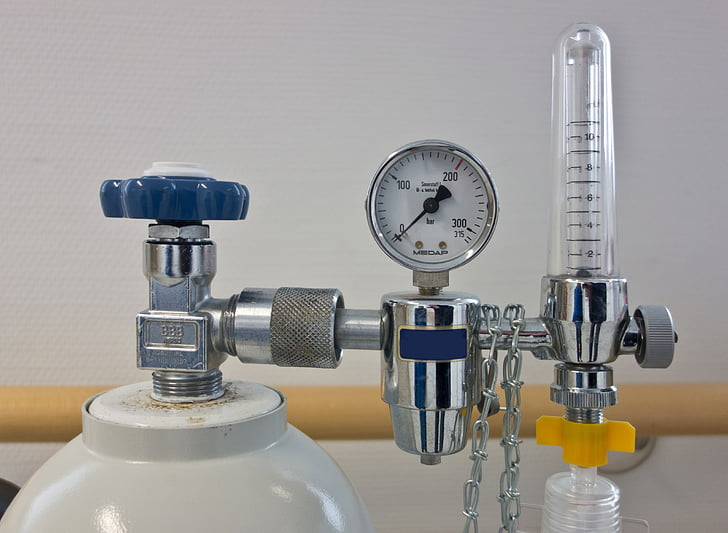 l'oxigen, Regulador de pressió, oxigen lax, ampolla, bombona de gas, respiració artificial, beamtmungsgerät