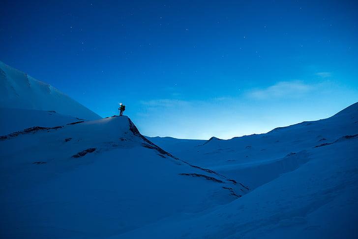 snø, randonée, blå, eventyr, fjell, natur, snødekte landskap