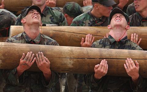 treball en equip, equip, fort, homes, militar, formació, grup