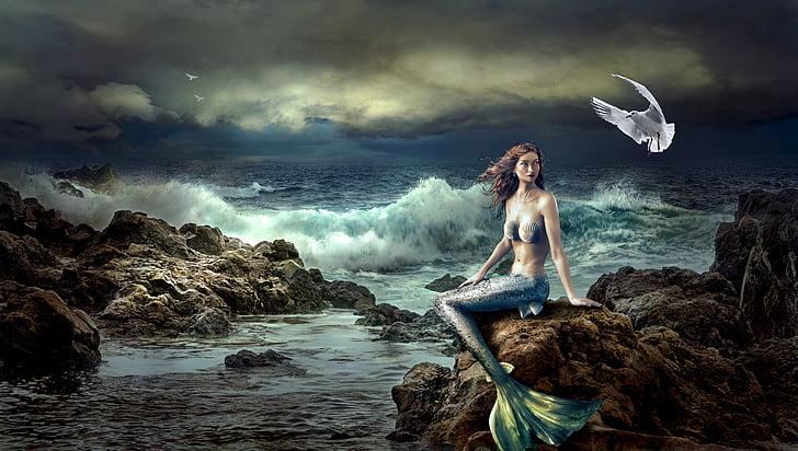 sirena, fantasia, mística, natura, Mar, bonica, Roca