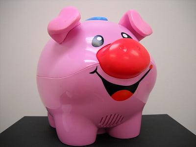 pink, pig, toy, smiling, child, children, play