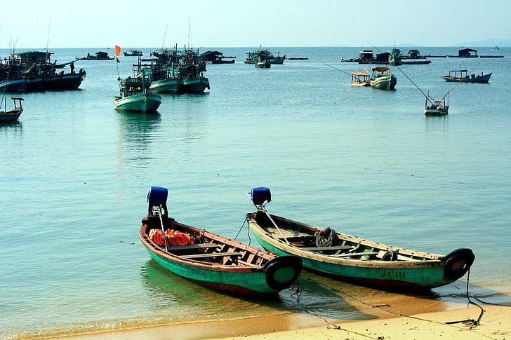 Phu quoc, Vietnam, embarcacions, platja, illa