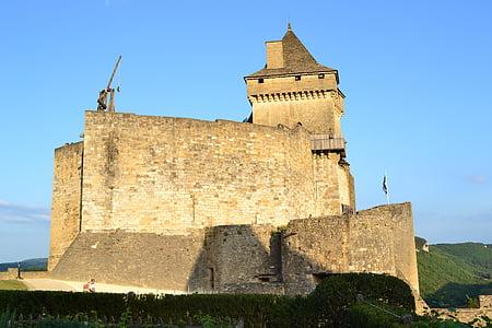 Castell, catapulta, castelnaud, castell medieval, mur de pedra, catapulta, Capella de castelnaud