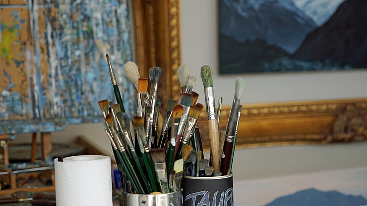 brosse, atelier, peinture, atelier de peinture, peinture, nature morte, soies