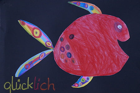 fish, colorful, cheerful, children drawing, child, drawing, laugh