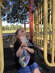 laugh, child, playground, park, fun, childhood, girl