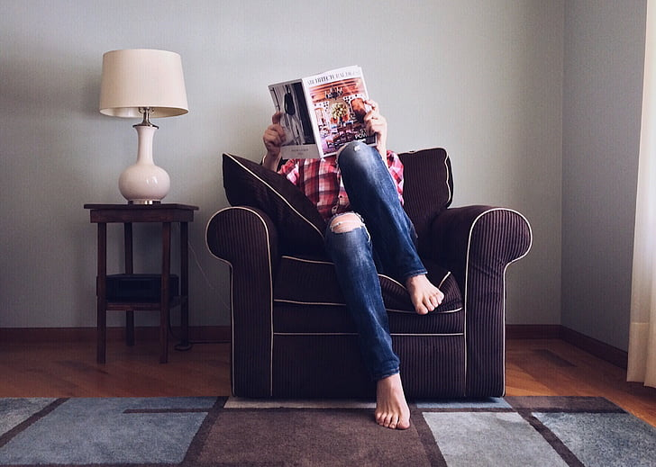 person, reading, home, domestic, leisure, sofa, women