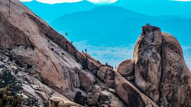Ryan mountain, Berge, Zip-line, Klettern, Bergsteiger, Joshua Tree Nationalpark, Kalifornien