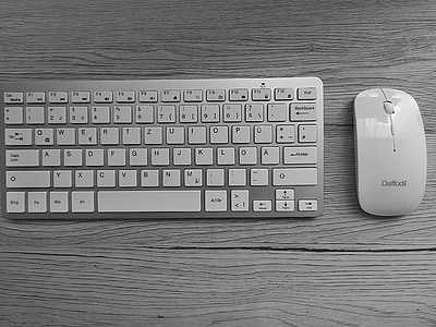 keyboard, mouse, desk, workplace, computer keyboard, black and white