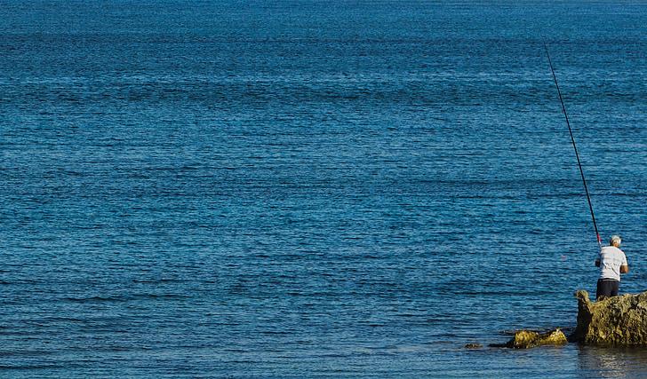 fisherman, sea, fishing, man, hobby, leisure, beach