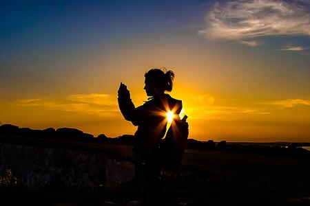 siluett, Sky, solnedgång