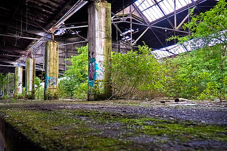 lost places, old, decay, ruin, railway depot, train, train hall