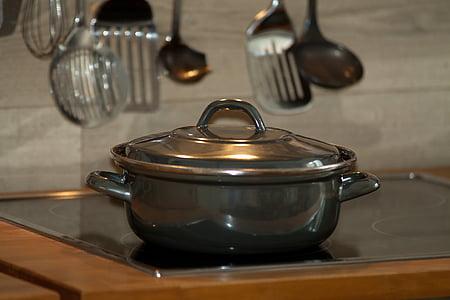 cuinar, cuina, olla de cocció, ladles, menjar, cuina, calenta