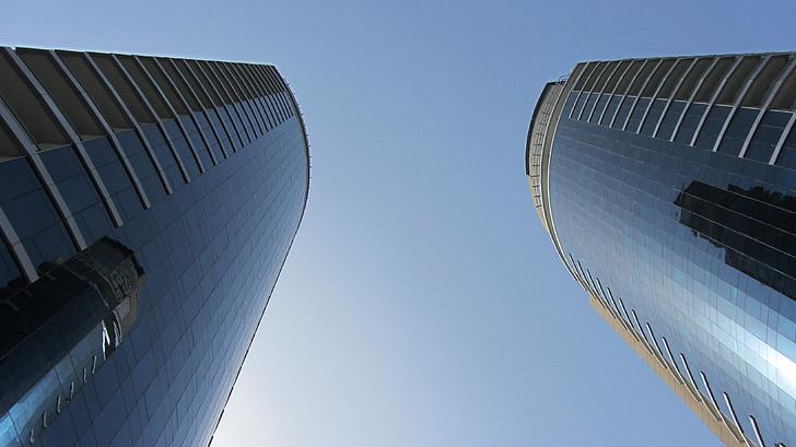 sky, blue sky, blue, building, skyscraper, dubai, architecture