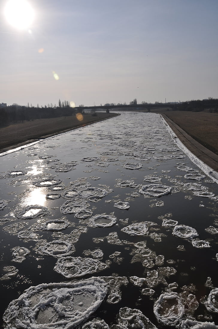 winter, rivier, tsunami, ijs, natuur