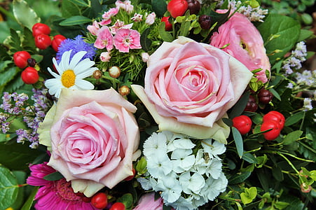 roses, flowers, arrangement, blossom, bloom, pink rose, pink