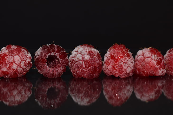 raspberries, frozen, frosted, close, mirroring, red, macro