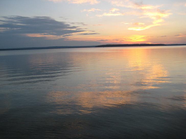 Llac, posta de sol, reflexió, cel, calma, horitzó