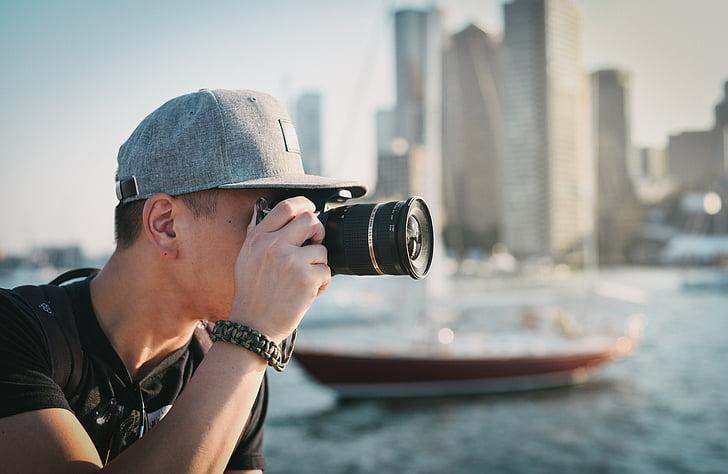 camera, city, man, person, photographer, photography, taking photo
