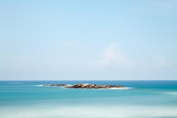 platja, horitzó, oceà, a l'exterior, roques, sorra, Mar