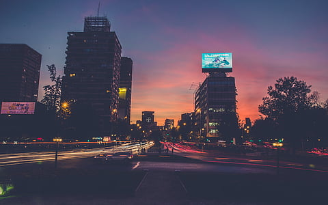 city street, sunset, city, street, downtown, cityscape, dusk