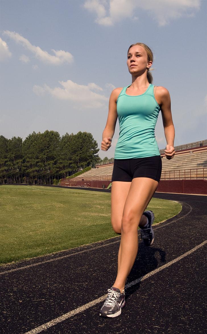 corredor, formació, ajust, atleta, gimnàs, dona, Sa