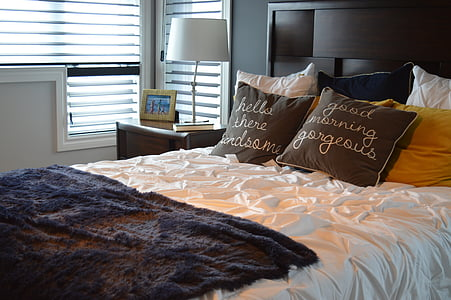 bed, bedroom, pillows, bedding, home, furniture, room