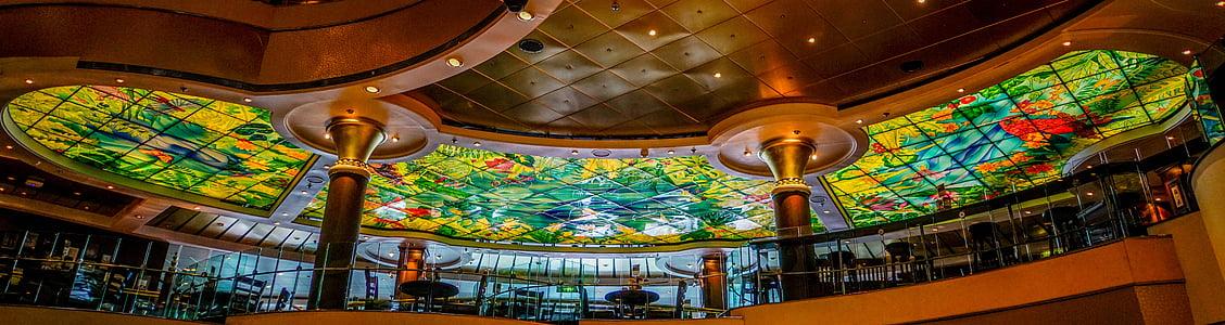 soffitto di vetro macchiato, nave da crociera, colorato, progettazione, trasporto, interni
