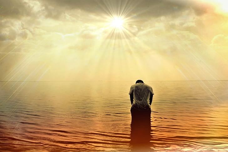vīrietis, cilvēku, persona, jūra, okeāns, saule, saules gaismā