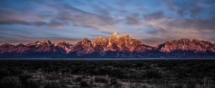muntanya, gamma, paisatge, natura, neu, paisatge, panoràmica