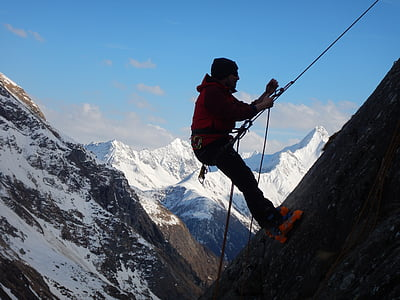 climb, prussik knot, high mountains, prusik, abseil, rope, carbine