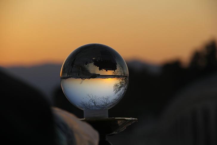 posta de sol, bola de vidre, al capvespre