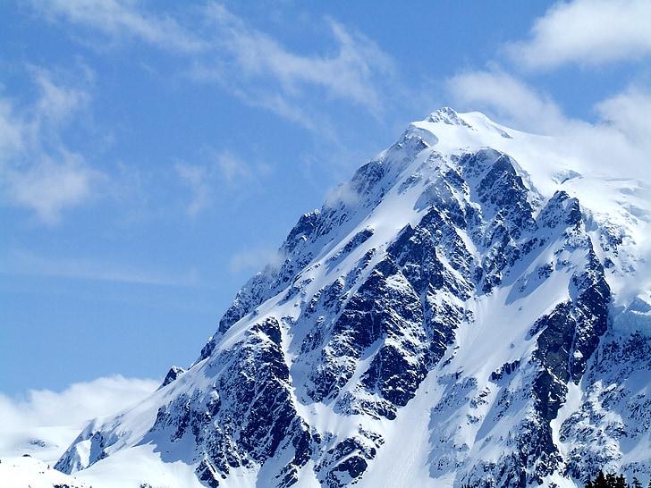 hegyi, téli, hideg, hó