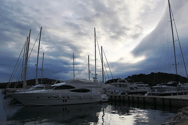 hamn, Yacht, motorbåt, Yachts, Marina