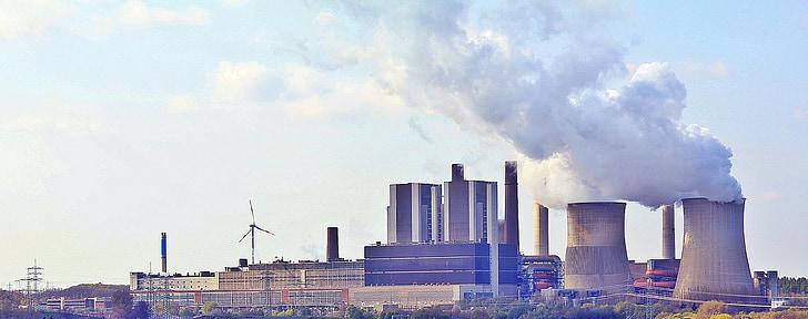 planta d'energia, núvols, indústria, xemeneia, fàbrica, actual, medi ambient