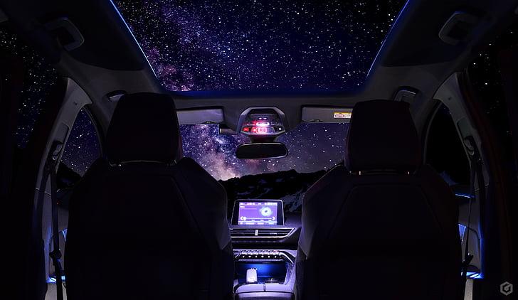 自動, つ星の評価, 空, 3008, プジョー, 車内, 交通