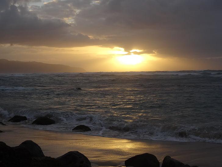 Захід сонця, Романтика, море, океан, хвиля, НД, сонячне світло