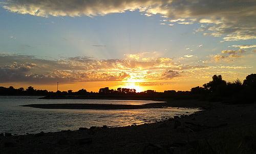 일몰, 저녁 하늘, 라인 강, 자연, 구름, 조 경, 로맨틱