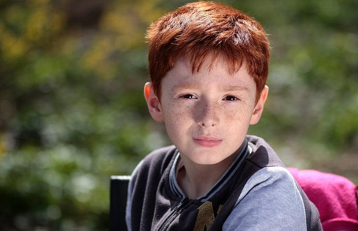 Момче, червена коса, лунички, Портрет, красота
