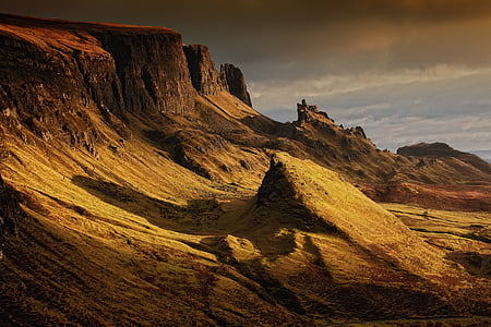 landscape, scotland, nature, highlands and islands, quairaing, mountains, isle of skye