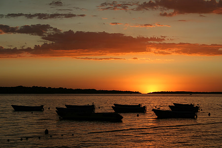 posta de sol, Afterglow, Mar, abendstimmung, l'aigua, vermell, cel de nit