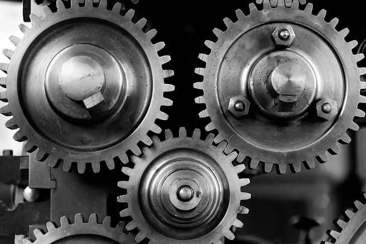 close-up, COG, engranatges, màquina, maquinària, mecànica, mecanisme