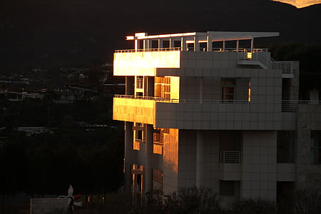 getty center, building, exterior, design, museum, structure, sunset