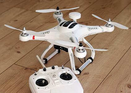 quadrocopter, abellot, model de, hèlix, volar, càmera, màquina voladora