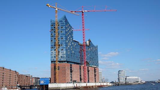 Hamburgo, punt de referència, Sala Filharmònica Elba, Grua - maquinària de construcció, arquitectura, indústria de la construcció, estructura de construcció
