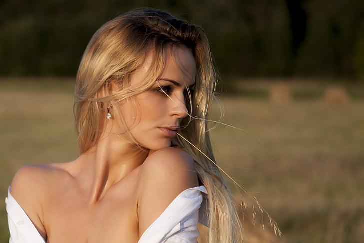selektīvs, uzmanības centrā, fotogrāfija, mati, sieviete, personība, blondi mati