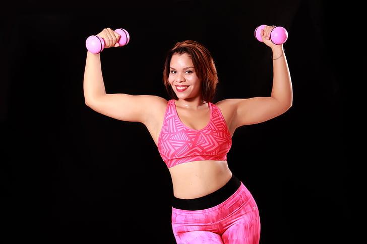 dones, fort, figura, República Dominicana, calenta, Atletisme, noia